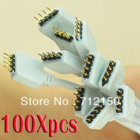 100 PCS Wholesale 4-Pin Male Connector DIY Cable for 3528 5050 SMD RGB LED light Strips