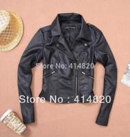 2014 New Za Women Quality PU Motorcycle biker Leather Blazer Jackets zipper Coat Fashion suede Jacket Plus Size S--XXL  winter