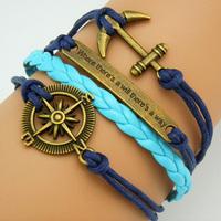 3pcs/Lot! Hot-selling navy blue compass threefolded long anchor combination bracelet