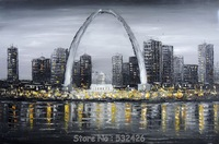 Saint Louis Gateway Arch Mississippi River Black & White Handpainted Oil Painting Canvas Wall Art Home Decoration Free Shipping