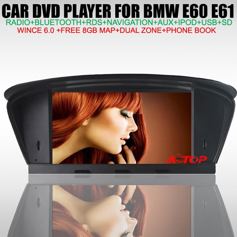 """Hot! 8"""" Car DVD GPS Player for BMW 5 Series M5 E60 E61 E63 E64 2003-2010 GPS Navigation BT TV IPOD Free 8GB Map Multi-languages(China (Mainland))"""