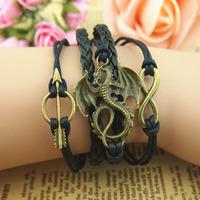 3pcs/Lot! Min Order $10.0! Vintage romantic love arrow threefolded multi-layer bracelet leather cord bracelet wax cord bracelet