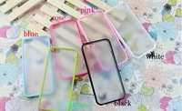 For iPhone 5G Case, Frosted Transparent Cover PC+TPU Candy Bumper Frame Case For iPhone 5 5G 5th Free Shipping