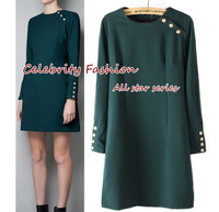2014 Celebrity Style Women's Autumn Dress Long Sleeve Military Dresses Stud Rivet Slim Emprie Waist OL Suit Free Shipping D24