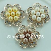 Free Shipping!50pcs/lot (30MM) metal rhinestone pearl button flower cluster wedding embellishment garment DIY accessory