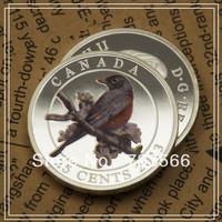 Free Shipping 20pcs/lot Round Regina Elizabeth II Dollars 25 Cents Canada Robin Bird 2013 Silver Coins