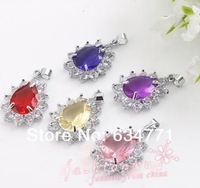 Hot sell !  Lot 40 Colorful Beautiful Drip Shape Crystal Pendant 1 (k 0103)