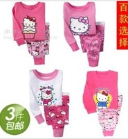 children's clothing children tracksuit baby hello kitty long sleeve cotton pajamas suit underwear