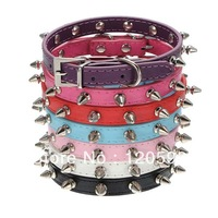 Adjustable Pet Cat Dog PU Leather Rivet Spiked Studded Collar Buckle Neck Strap