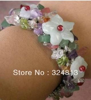 nice Jade Flower Multicolor Agate Crystal Bracelet