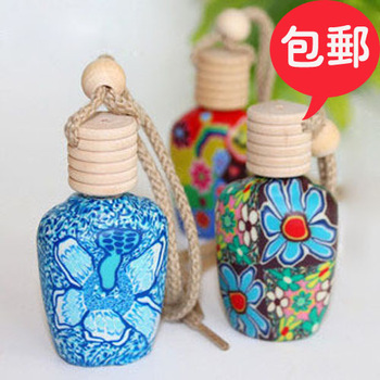 Polymer clay bottle car polymer clay car hangings essential oil car pendant perfume hangings