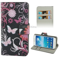 Butterfly Pattern Horizontal Flip Leather Case with Credit Card Slot for Samsung Galaxy S4 mini / i9190