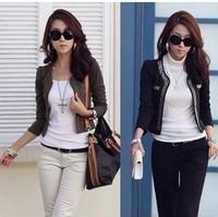 Free Ship 2013 New Korea Style Fashion Women METAL STUDDED Formal Blazer Jacket, Rhinestone Long Sleeve 3 Colors Plus Size 5XL