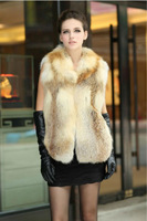 Elegant women red fox fur gilet vest waistcoat sleeveless vests jacket