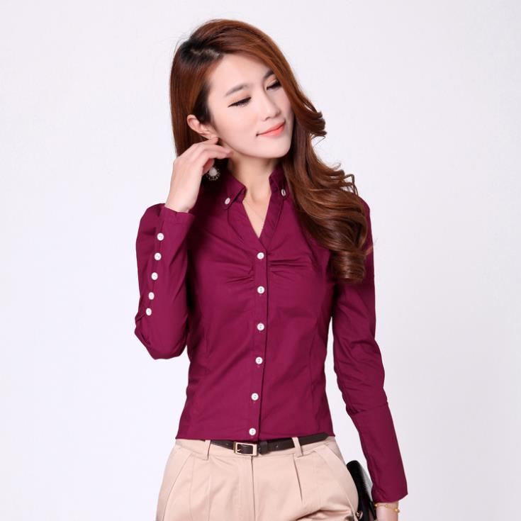 botón de la ropa de oficina 2014 clásico señora blusa casual h1299