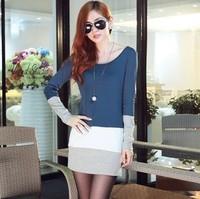 2013 new fashion women's long sleeve stripe long t shirt casual cotton dresses, joker tops blouses for Autumn