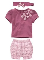 2014 little girls fashion and col short sleeves 3 pcs set , children summer set , kids waer free shipping