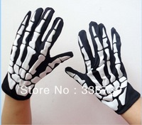 2013 New Arrival Halloween Gloves,Horrific Women Man Halloween Gloves 26cm ,Hot Party Supplies Skull Gloves,Free Shipping,LY223