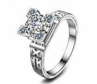 Italina Platinum Plated Eiffel Tower Zircon Wedding Rings Women Designer Jewelry Free Shipping