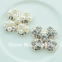 Free Shipping!100pcs/lot (14MM) metal rhinestone pearl plum blossom button wedding embellishment garment DIY accessory