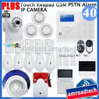 Most Advanced Touch Keypad GSM PSTN Wireless Security Home Burglar Alarm System + HD720P Wifi Network IP Camera iHome328GPB40