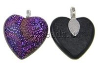 Free shipping!!!Dichroic Glass Pendants,2013 designers for men, with Zinc Alloy, Heart, mixed colors, approx 20x20x6-7mm