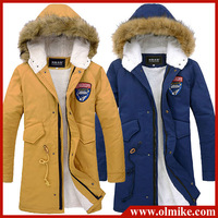 New Men's Thicken Winter Fur Hoody Long Trench Coat Warm Fleece Coats/ Embroidery Badge Outwear / Mens Jackets Asia S-XXL D001