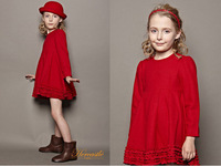 Free shipping France Pairs Fashion 100% Wool High Quality Palace Girls Dresses for Beauty Princess
