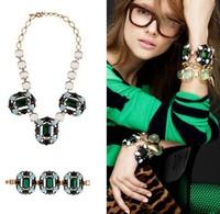 Free Shipping(MOQ 10$ Mix Order) European Brand Luxury Emerald Crystal Bronze JC Chain Chunky Bib Necklace Wholesale