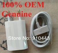 20PCS/LOT,100% Original EU AC Wall Charger Plug Adapter+original 30pin cable For  IPhone 3G 4G 4GS  Free Shipping