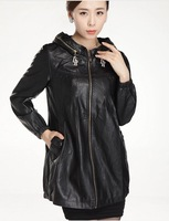Autumn  2013 Big yards Female PU Leather coats,lady red leather coat,women's Motorcycle leather Trench coat L,XL,2XL,3XL,4XL,5XL