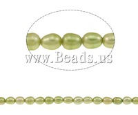 Free shipping!!!Rice Cultured Freshwater Pearl Beads,quality, light green, 5-6mm, Hole:Approx 0.8mm, Length:Approx 15.3 Inch