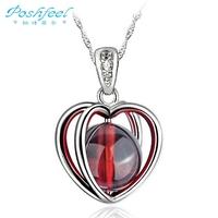 Free shipping PF brand Classic female 925 silver with 3 layers of platinum garnet johnstonotite  heart pendants