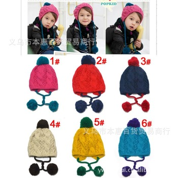 FREE SHIPPING .Korean version of the double ball ear cap color pattern