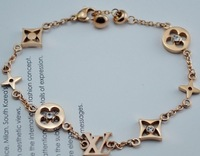 Titanium High Quality Rose Gold Plated Stainless Steel Clover Brand Design Rhinestone Bracelet Free Shipping