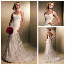 Removable Cap Sleeve Short Train Wholesale Price Sweetheart Vintage Lace Wedding Dresses(China (Mainland))