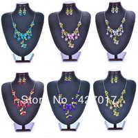 Free Shipping Wholesale 6 Sets Wedding Bridal  Butterfly Necklace Earring Set Flower Enamel Dangle