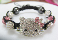 New Fashion Jewelry Women Bracelets Pink Bow Hello Kitty Crystal Shamballa Bracelets Bangles Wholesale 5pcs/lot Charm Bracelet