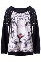 2014 New Tops European Fashion Style Women Black Full Sleeves 3D tiger Head Loose Pullover Jumper/Animal Print Hoodie Sweatshirt