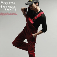 Fashion overalls men's clothing tidal current male hip-hop jumpsuit bib pants casual trousers spaghetti strap pants
