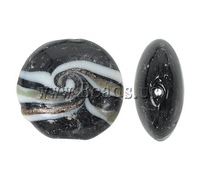 Free shipping!!!Gold Sand Lampwork Beads,Jewelry Making, Flat Round, black, 20x9mm, Hole:Approx 2mm, 100PCs/Bag, Sold By Bag