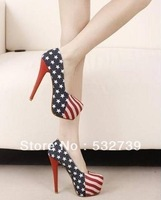 Fashion women ladies USA Flag Super High Pumps High quality Low price
