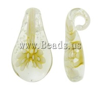 Free shipping!!!Inner Flower Lampwork Pendants,Jewelry Making, Leaf, handmade, 16x30x7mm, Hole:Approx 5mm, 10PCs/Bag