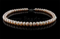 Free shipping!!!Natural Freshwater Pearl Necklace,Wholesale Lot, brass clasp, Round, pink, AA Grade, 10-11mm