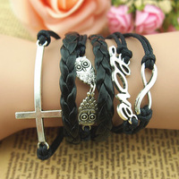 DIY New Retro Silver Infinity Owls Love Cross Charms Wax Rope Leather Wrap Bracelet Factory Wholesale price