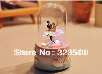 Free Shipping Music Box Swan Lake Ballet Creative Wedding or Birthday Gift Rotatable with LED Light Sankyo Movement