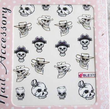 Watermark nail art applique finger water transfer printing accessories skull series ble 13 series