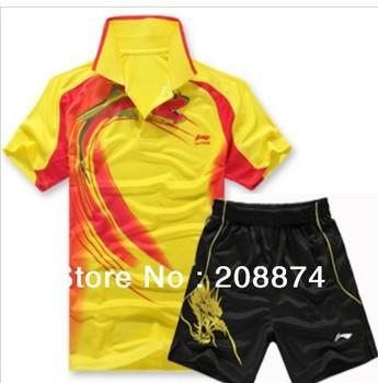 2012 Free shipping Li-Ning Men Badminton /Tennis Polo shirt +short 36050