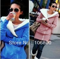 2013 Korea Women Hoodies Coat Warm Zip Up Outerwear Sweatshirts 2 Colors pink blue black gray free shipping