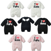 Freeshipping Retail (6M-18M) Infant Baby Newborn Rompers for 2013 Fall New Arrives, I love PAPA MAMA Jumpsuit Bodysuit for Baby